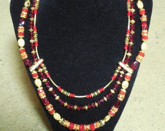 "Red Crystal Gold Necklace Earrings Set Swarovski Crystals Gold beads Plated 17"" - 19"" NICKEL FREE One Of A Kind Ooak Handmade Jewelry"