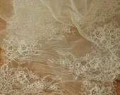 3 Yards French Alencon Lace Fabric Trim for Wedding Gown, Bridal Veils, Bodices, Shrugs, Garters, Headpiece
