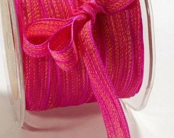 5/8 Inch Mesh Ribbon FUCHSIA/YELLOW baby shower birthday sweet 16 valentines day scrapbook