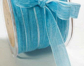 5/8 Inch Mesh Ribbon Sparkly Aqua baby shower birthday scrapbook sparkle