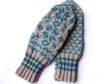 Blue and Beige Mittens // Traditional Norwegian Mittens // Selbuvotter