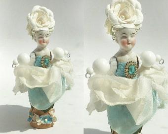 Flower Child, garden sprite, mixed media assemblage, flower girl, millinery flowers, altered art doll, by Elizabeth Rosen