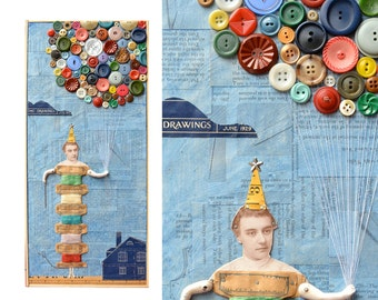 Birthday Girl, 9x19.5, mixed media assemblage, vintage button balloons, sewing art, by Elizabeth Rosen
