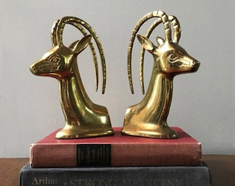 Mid Century Antelope Bookends in Brass