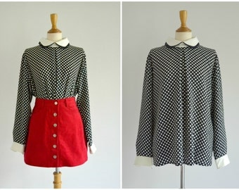 Vintage Polka Dot Shirt Blouse - blue, white, double peter pan collar, button up back