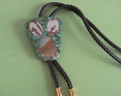 Vintage Signed BENNETT Bolo Tie Turquoise and  Agate