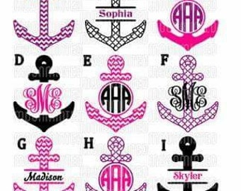 Monogrammed Anchor Decal /RTIC YETI  Car Decal, Computer Decal, Window Decal, Cell Phone Decal
