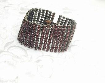 Vintage Rhinestones Cuff Bracelet, Garnet & silver tone, bridal, wedding, item no B548