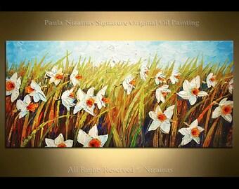 Oil Painting on canvas Daffodil Garden Impressionist Palette Knife White art Flowers Summer Nizamas