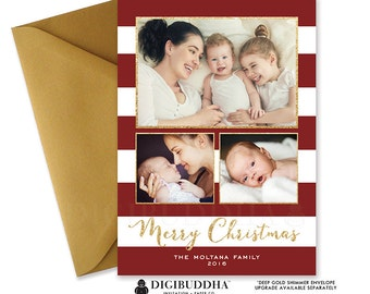 PHOTO CHRISTMAS CARD 3 Photos Holiday Card Red Personalized Holiday Card Printable Christmas Printed Christmas Card FrEE SHiPPING - Moltana