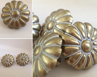 Set of Two Vintage Brass Daisy Decorative Knobs