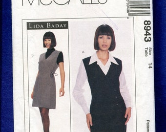 McCalls 8943 Designer Lida Baday Wrap Front Jumper with Princess Seams & Classic Shirt with French Cuffs Size 14 UNCUT