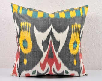 Ikat Pillow, Hand Woven Ikat Pillow Cover A529-1AA3, Ikat throw pillows, Designer pillows, Decorative pillows, Accent pillows
