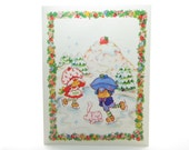 Strawberry Shortcake Christmas Holiday Greeting Card with Plum Puddin Ice Skating