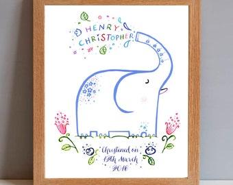 Personalised Christening New Baby Baptism Elephant Gift Print