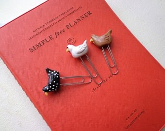 Polymer Clay Chicken Paperclip/ Set of 3