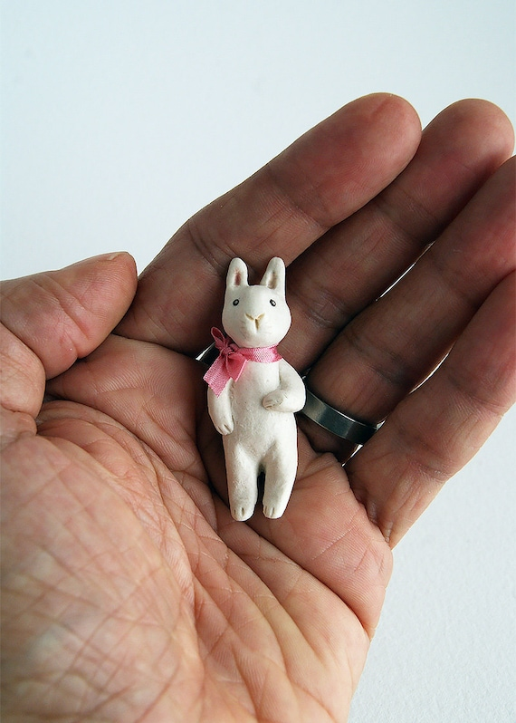 porcelain rabbit pin - rabbit jewelry