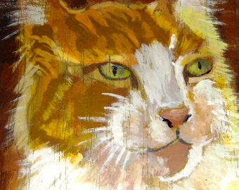 hand painted wooden box signed MIKLO'S 67, collectible art, cat art, cat painting, ginger cat