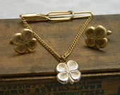 Vintage Four Leaf Clover cuff links and tie clip set gold tone
