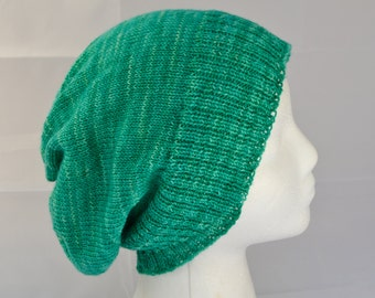 Green Slouchy Hat, Ladies Slouchy Beanie, Light Weight Wool Hat, Womens Watch Cap, Ladies Spring Fashion, Green Unisex Beanie