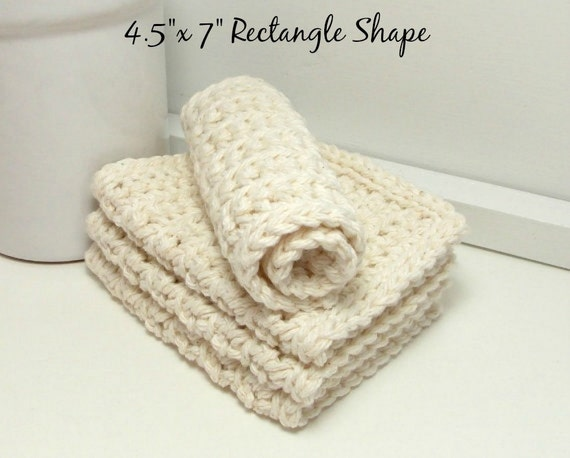 Eco Friendly Dishcloths - Natural Ecru - American Grown Cotton: Set of 4