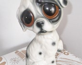 Big Eye Pity Puppy Ceramic Figurine 1960's -1970's Ceramic Big Eyed Dog