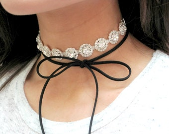 Rhinestone Choker, Black Suede Choker, Bow Necklace, Sparkly Necklace, Sparkly Choker, Choker, Ready To Ship, THIRTEEN SUEDE COLORS