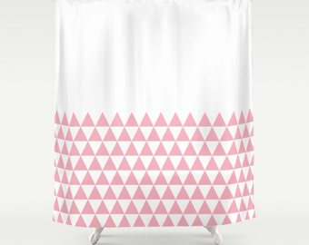 36 colours, Geometric Triangles Half Pattern Shower Curtain, bathroom shower curtains, Candy pink and white triangles pattern bathroom decor