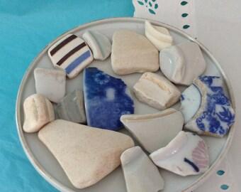 Sea Ceramics - Beach Pottery - Ceramic shards - Hawaii - surf tumbled - Sea pottery mosaics - mosaic pieces - sea porcelain - Pottery Shards