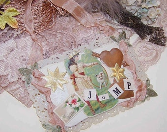 ONE of a KIND Ornament/Postcard - Little Girl with Her Dog - JUMP!