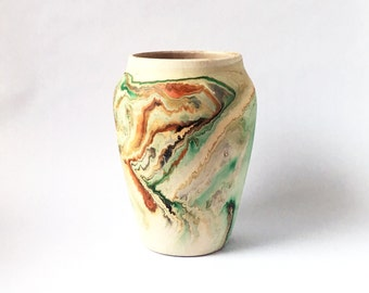 Vintage Nemadji Vase, Green Tones