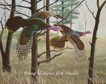 Turkey Painting, Wildlife Art Print, Birds, Home Decor, Wall Decor, Gifts, Art and Collectibles Wild turkey, Acrylic,Limited Edition