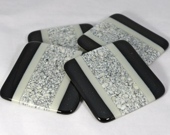 Fused Glass Coasters, Black and Grey with White Pebble Look (Quantity 4)