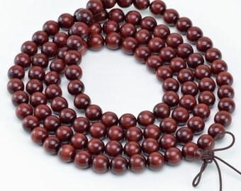 10mm 108PCS Red Sandalwood Grade AA Prayer Buddha Mala Meditation Loose Beads(50451-139)