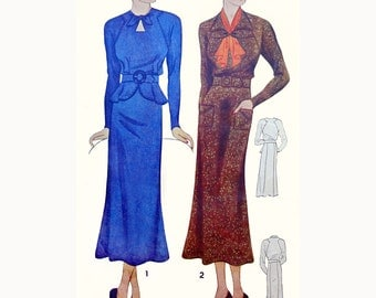 1930s Style Raglan Sleeve Keyhole Neck Dress with Peplum and Slim Skirt Custom Made in Your Size From a Vintage Pattern