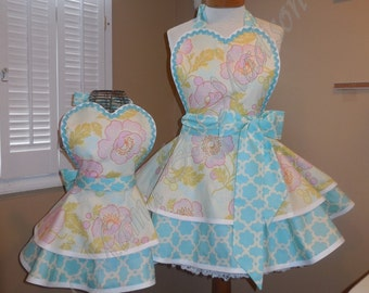 Mother and Daughter Matching Floral Apron Set Accented In Aqua Blue...Featuring Heart Shaped Bib
