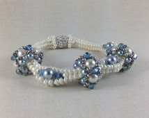 Palace Pearls Bracelet Pattern Beading Tutorial Pearls Crystals Herringbone Pattern Pave Clasp Blue Cream Gray Denim