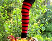 Legwarmers Red/Black Stripe Christmas/Hanukkah