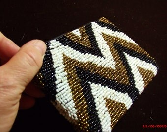 Ladies Evening Bag, Native American Print, Hand Clutch bag, Beaded coin purse.....