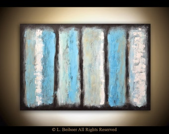 Original abstract painting 24 x 36 modern art large blue white textured contemporary acrylic painting by L.Beiboer