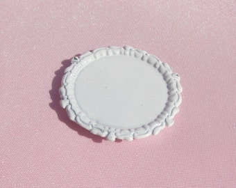 12th Scale Dollhouse Tray Miniature Tray with Apple Dollhouse White Tray Dollhouse Metal Tray Miniature White Metal Tray Mini Serving Tray