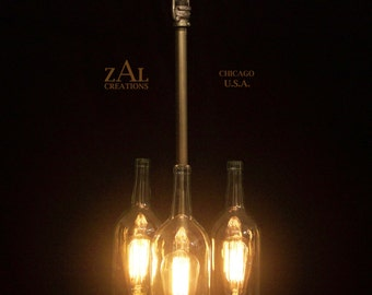 Pendant Light. 3 Wine bottles.