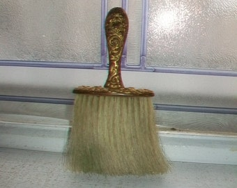 Antique Gold Wash Brass Repoussé Clothes Brush Hat Brush Vanity Brush