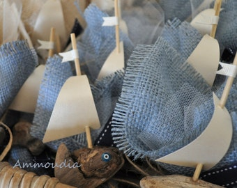 Little driftwood boat and burlap filled with candies- baby shower favor - bridal shower favor-  Greek baptism bomboniere