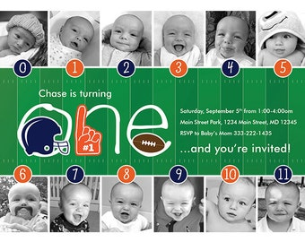 NEW LOOK! Football Timeline First Birthday Invitation – Your Choice of Team Colors
