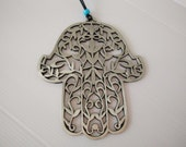 metal hamsa wall hanging, housewarming present, hand of fatima,  judaica, made in israel