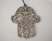metal hamsa wall hanging, housewarming present, hand of fatima,  judaica, made in israel