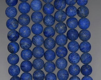 8mm Matte Lapis Lazuli Gemstone Garde A Blue Round Loose Beads 15.5 inch Full Strand (90183219-276)