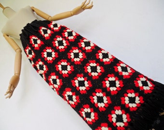 SALE :)))) CROCHET SQUARES . Iconic Beautiful Maxi Fringed Skirt 70s Boho Granny Geometric Hippy Vogue Hand Knitted S M L xL One Size Red Bl