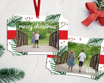 Personalized Photo Christmas Tree Ornament - Double Sided with Ribbon - Pine Tree